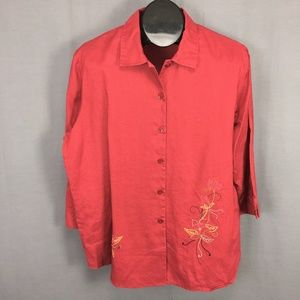 Sag Harbor Button Shirt Size 18 Red Embroidered